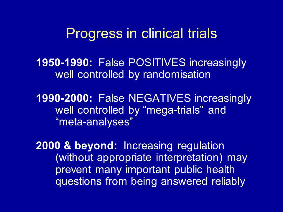 Progress in clinical trials 1950-1990: False POSITIVES increasingly well controlled by randomisation 1990-2000: False NEGATIVES increasingly well cont