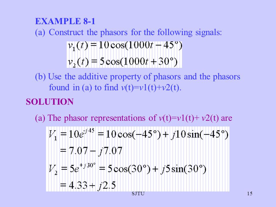 SJTU15 EXAMPLE 8-1 (a)Construct the phasors for the following signals: (b) Use the additive property of phasors and the phasors found in (a) to find v
