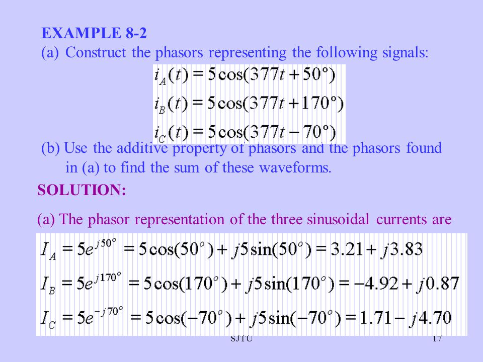 SJTU17 EXAMPLE 8-2 (a)Construct the phasors representing the following signals: (b) Use the additive property of phasors and the phasors found in (a)