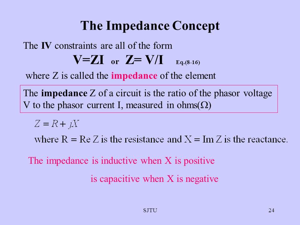 SJTU24 The Impedance Concept The IV constraints are all of the form V=ZI or Z= V/I Eq.(8-16) where Z is called the impedance of the element The impeda