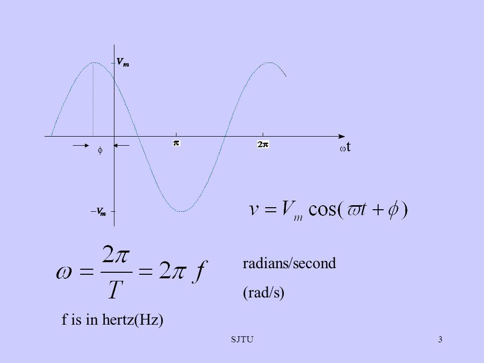 SJTU3 t radians/second (rad/s) f is in hertz(Hz)