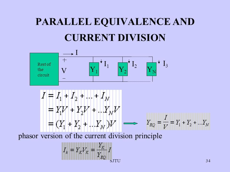 SJTU34 PARALLEL EQUIVALENCE AND CURRENT DIVISION Rest of the circuit Y1 Y1Y1 Y2Y2 YNYN I V I1I1 I2I2 I3I3 phasor version of the current division princ