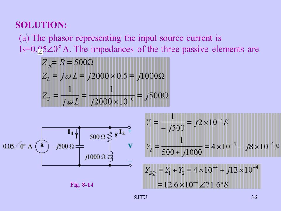 SJTU36 SOLUTION: (a) The phasor representing the input source current is Is=0.05 0° A. The impedances of the three passive elements are Fig. 8-14