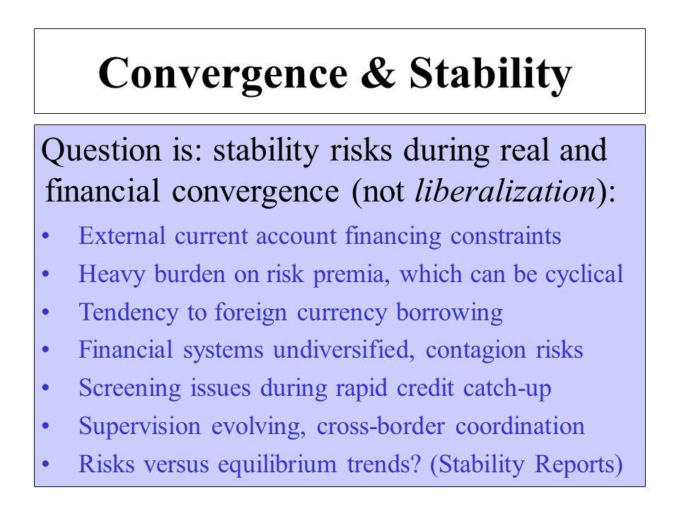 Convergence & Stability Question is: stability risks during real and financial convergence (not liberalization): External current account financing constraints Heavy burden on risk premia, which can be cyclical Tendency to foreign currency borrowing Financial systems undiversified, contagion risks Screening issues during rapid credit catch-up Supervision evolving, cross-border coordination Risks versus equilibrium trends.
