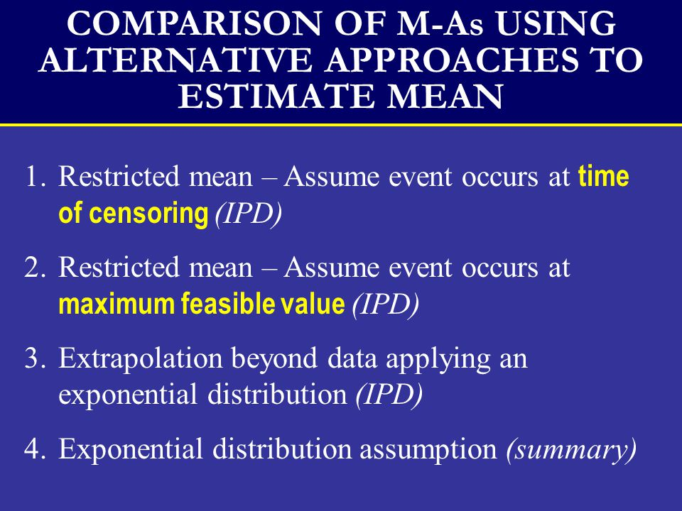 COMPARISON OF M-As USING ALTERNATIVE APPROACHES TO ESTIMATE MEAN 1.Restricted mean – Assume event occurs at time of censoring (IPD) 2.Restricted mean – Assume event occurs at maximum feasible value (IPD) 3.Extrapolation beyond data applying an exponential distribution (IPD) 4.Exponential distribution assumption (summary)