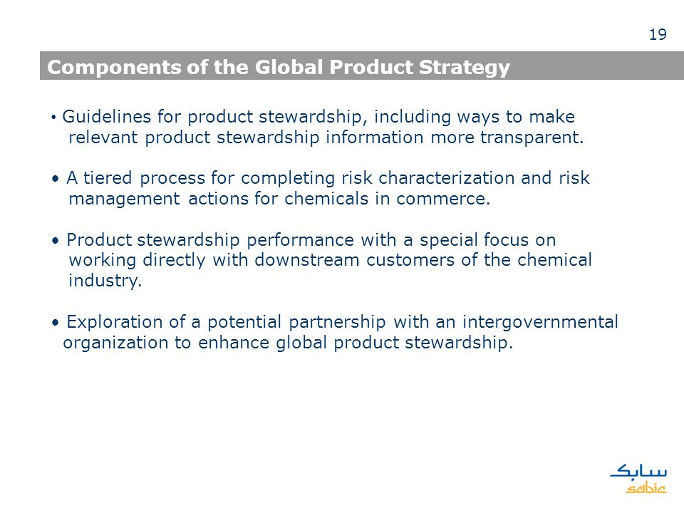 Components of the Global Product Strategy Guidelines for product stewardship, including ways to make relevant product stewardship information more tra