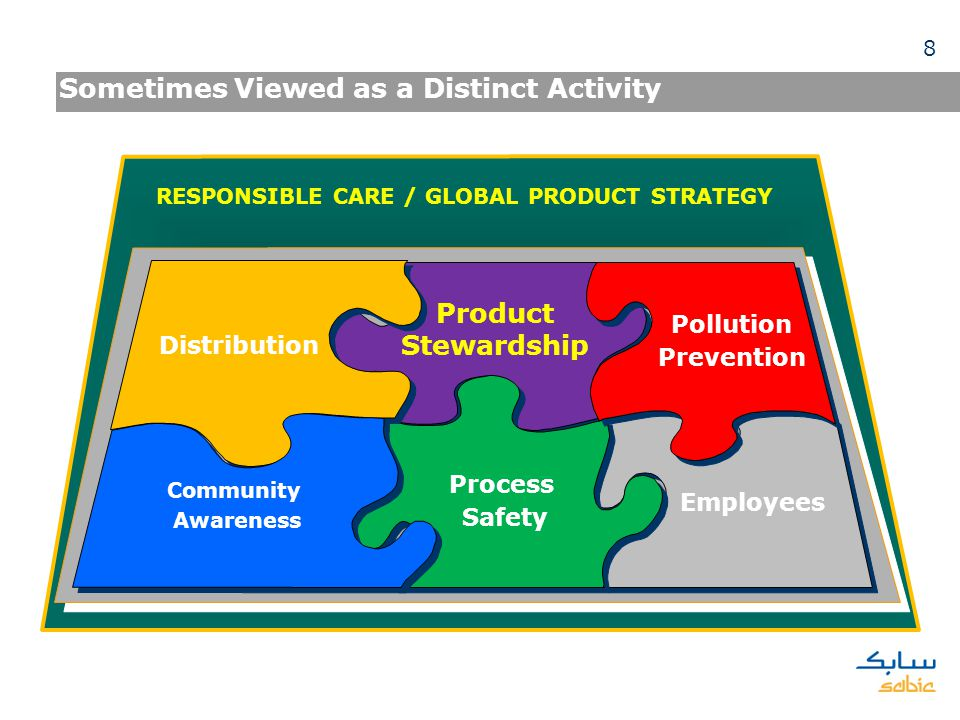 Sometimes Viewed as a Distinct Activity RESPONSIBLE CARE / GLOBAL PRODUCT STRATEGY Process Safety Pollution Prevention Employees Distribution Communit