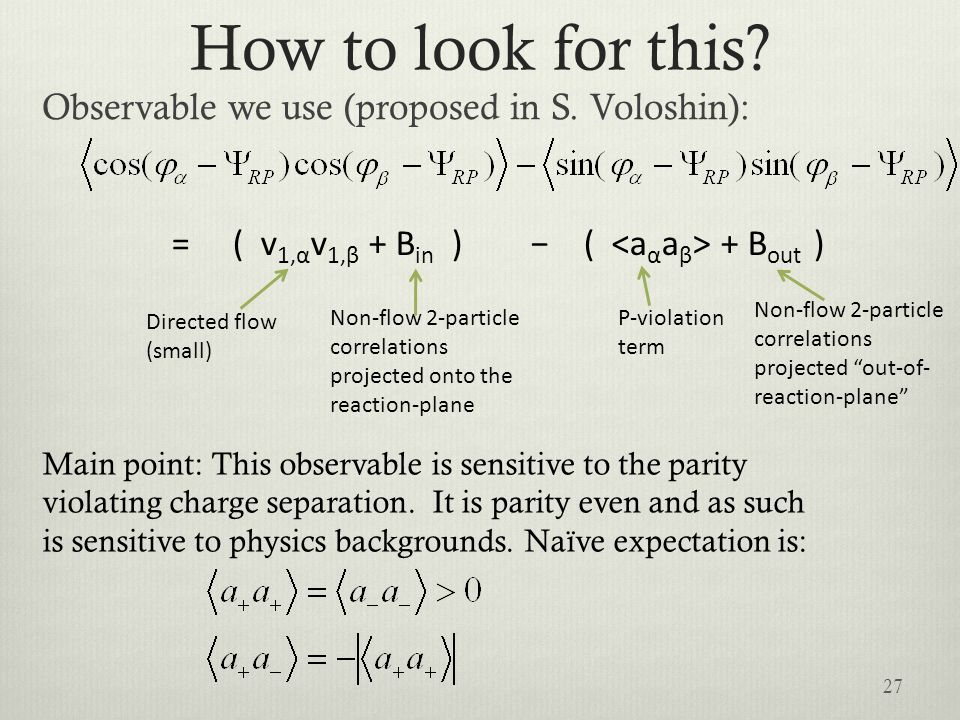 How to look for this? Observable we use (proposed in S. Voloshin): P-violation term Non-flow 2-particle correlations projected out-of- reaction-plane