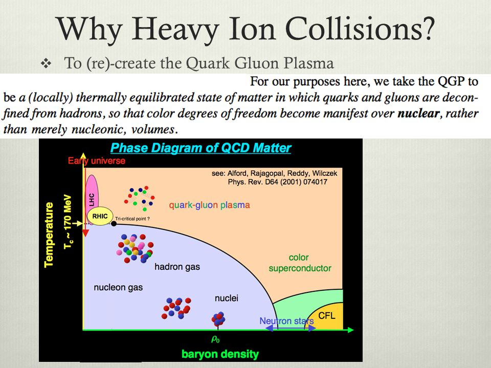 Why Heavy Ion Collisions? To (re)-create the Quark Gluon Plasma To study the QCD vacuum state