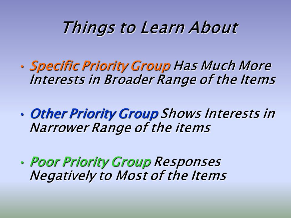 Things to Learn About Specific Priority Group Has Much More Interests in Broader Range of the ItemsSpecific Priority Group Has Much More Interests in Broader Range of the Items Other Priority Group Shows Interests in Narrower Range of the itemsOther Priority Group Shows Interests in Narrower Range of the items Poor Priority Group Responses Negatively to Most of the ItemsPoor Priority Group Responses Negatively to Most of the Items