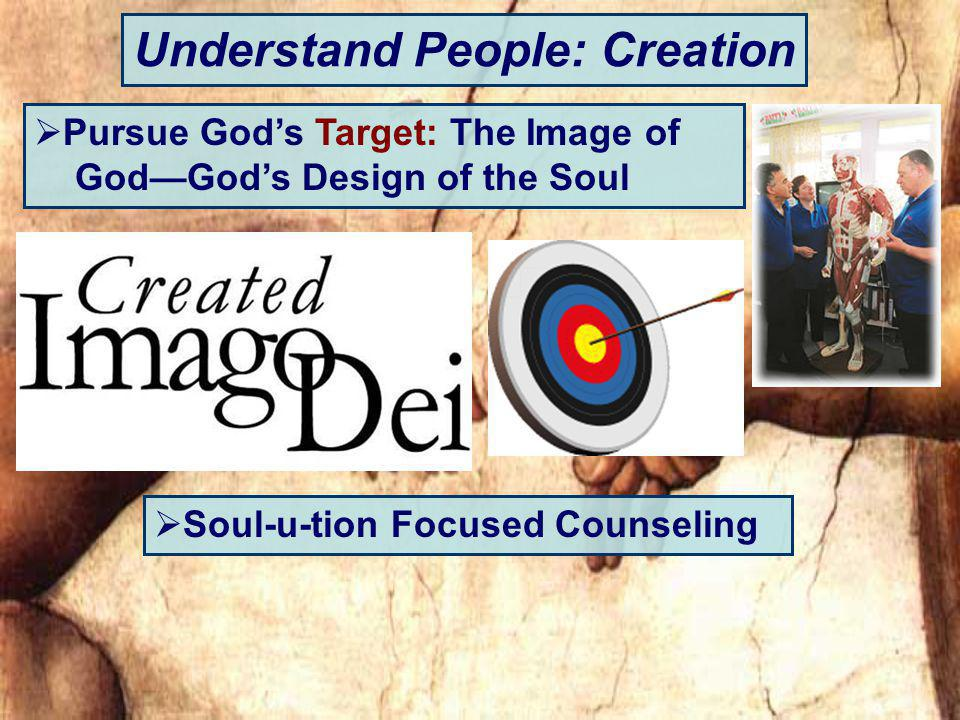 Understand People: Creation Pursue Gods Target: The Image of GodGods Design of the Soul Soul-u-tion Focused Counseling