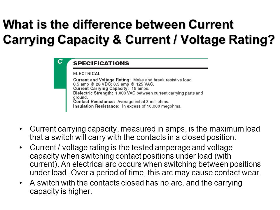 What is the difference between Current Carrying Capacity & Current / Voltage Rating? Current carrying capacity, measured in amps, is the maximum load