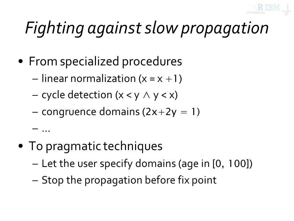ANR-07-SESUR-003 Fighting against slow propagation From specialized procedures –linear normalization (x = x +1 ) –cycle detection (x < y y < x) –congruence domains ( 2x+2y = 1) –… To pragmatic techniques –Let the user specify domains (age in [0, 100] ) –Stop the propagation before fix point