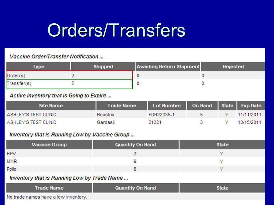 Orders/Transfers