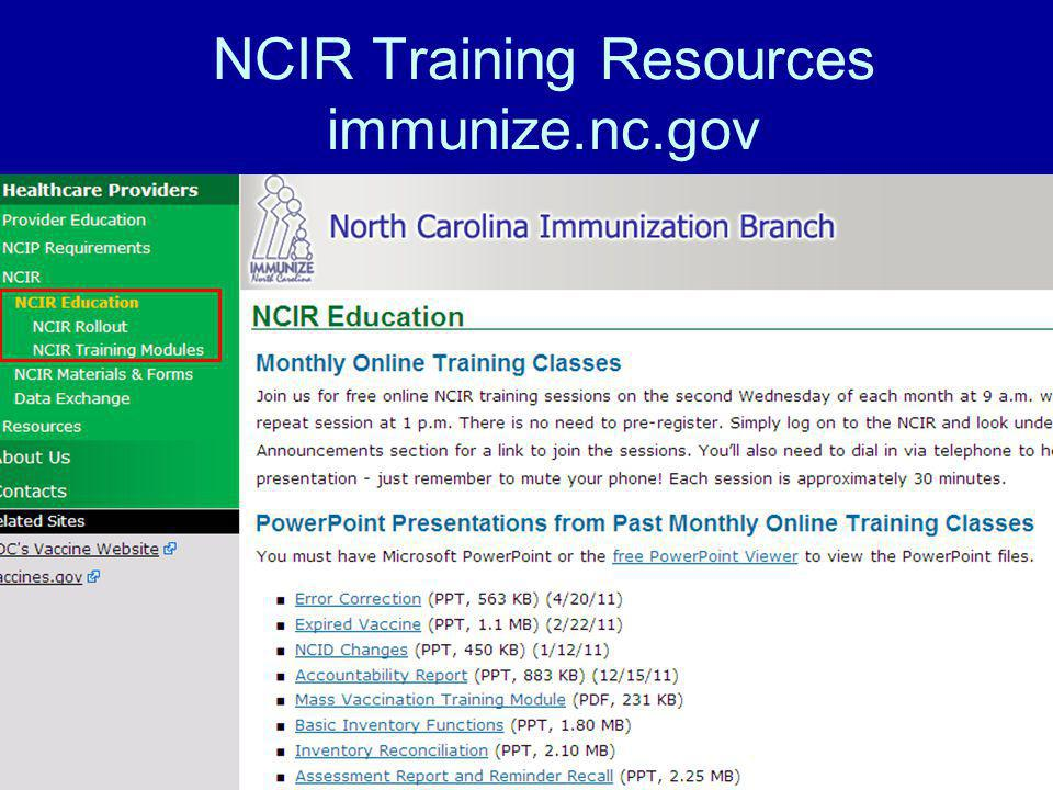 NCIR Training Resources immunize.nc.gov