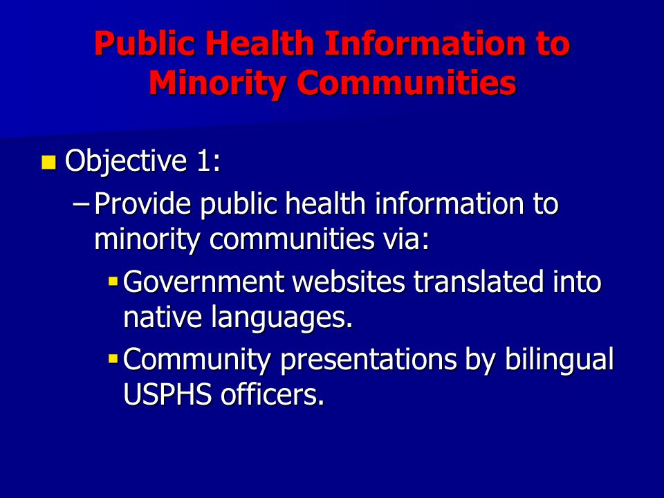 Public Health Information to Minority Communities Objective 1: Objective 1: –Provide public health information to minority communities via: Government websites translated into native languages.