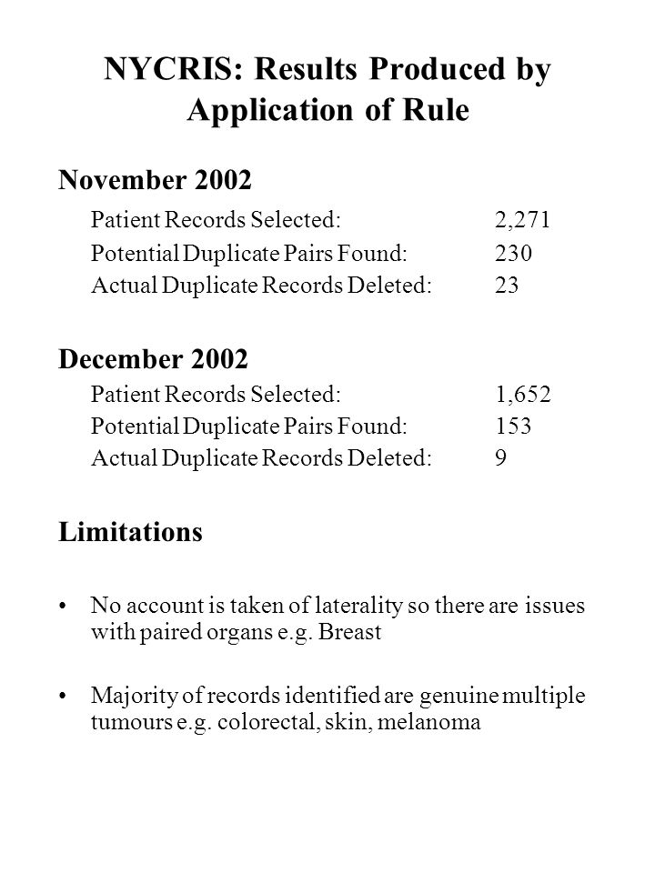 NYCRIS: Results Produced by Application of Rule November 2002 Patient Records Selected:2,271 Potential Duplicate Pairs Found:230 Actual Duplicate Records Deleted:23 December 2002 Patient Records Selected:1,652 Potential Duplicate Pairs Found:153 Actual Duplicate Records Deleted:9 Limitations No account is taken of laterality so there are issues with paired organs e.g.