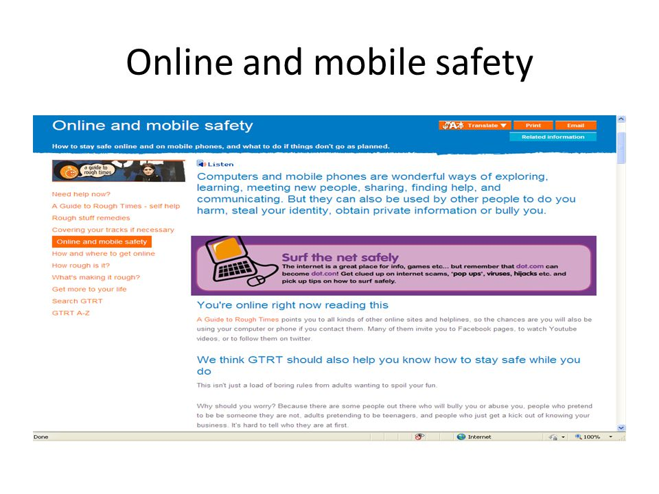 Online and mobile safety
