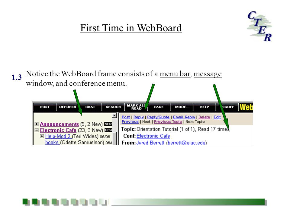 CTER Orientation Tutorial The Use of the WebBoard