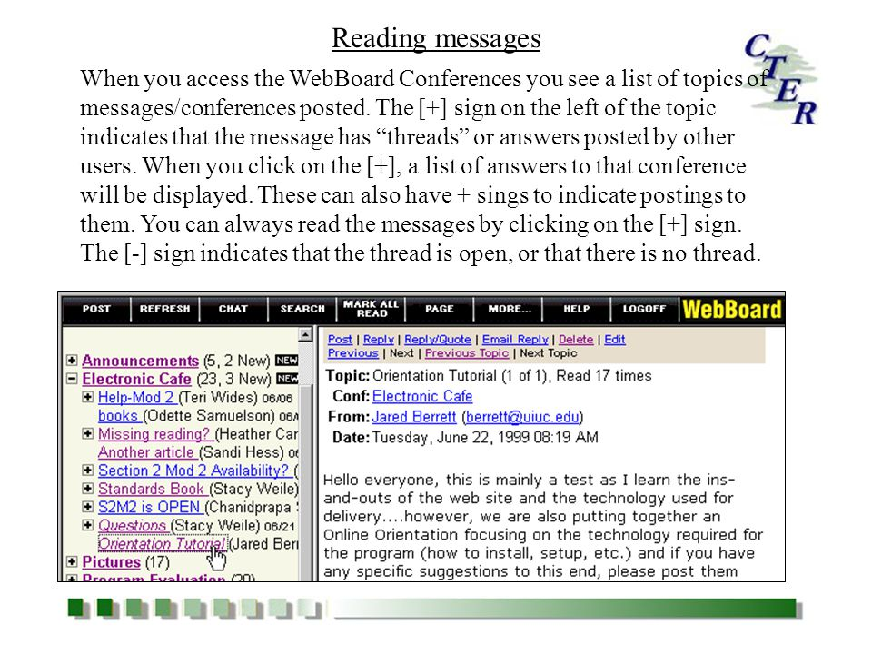 (Message goes Here) 6.1 6.2 Click on a message and select Post from the Menu Bar Fill in the Topic box and see that the Converting Line breaks to HTML and Preview/ Spell check boxes are checked, then type your message.
