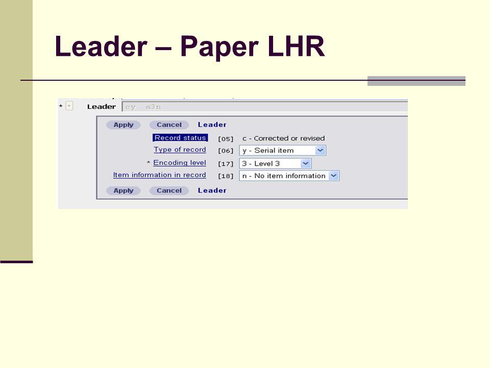 Leader – Paper LHR