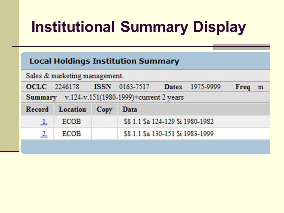 Institutional Summary Display