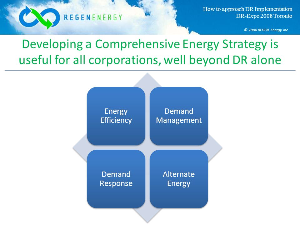 © 2008 REGEN Energy Inc How to approach DR Implementation DR-Expo 2008 Toronto Developing a Comprehensive Energy Strategy is useful for all corporatio