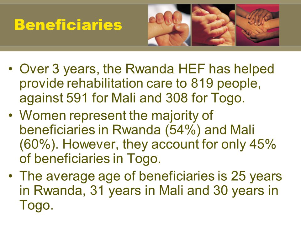 Beneficiaries Over 3 years, the Rwanda HEF has helped provide rehabilitation care to 819 people, against 591 for Mali and 308 for Togo.