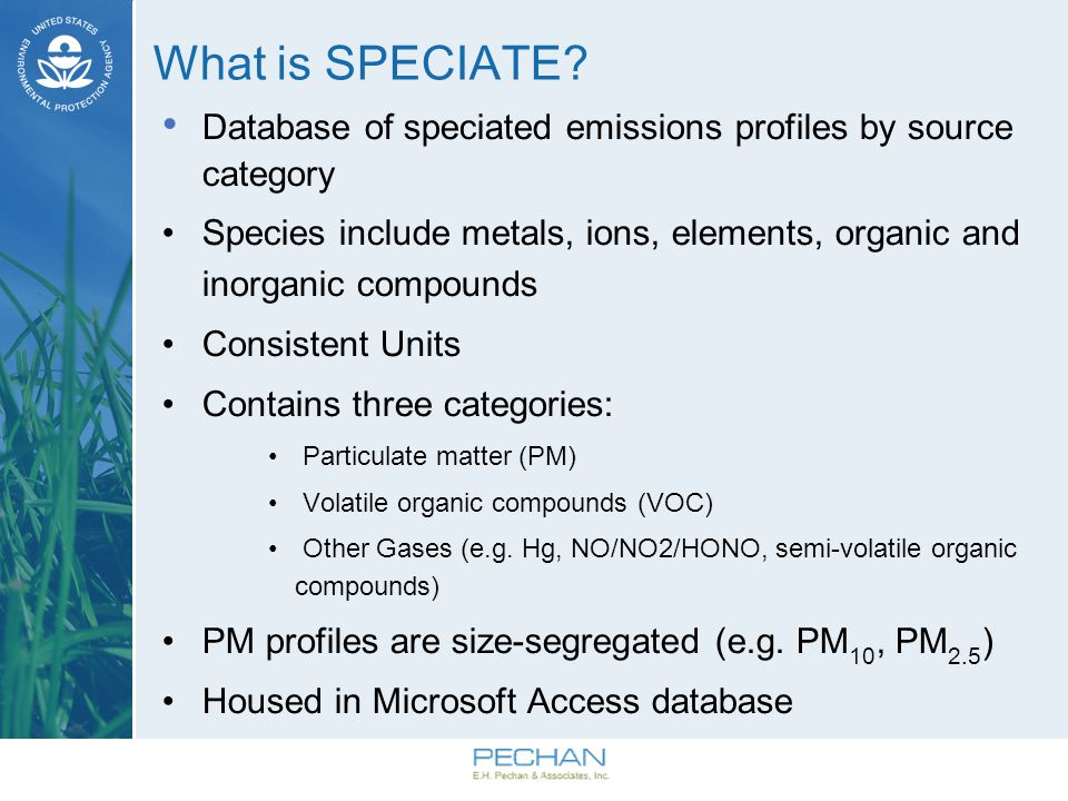 Development of SPECIATE Collaboration involving: EPA s Office of Research and Development (ORD) Office of Air Quality Planning and Standards (OAQPS) Office of Transportation and Air Quality (OTAQ) Environment Canada SPECIATE Workgroup