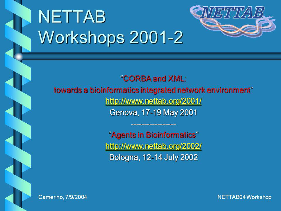 Camerino, 7/9/2004NETTAB04 Workshop NETTAB Workshops 2001-2 CORBA and XML:CORBA and XML: towards a bioinformatics integrated network environment http://www.nettab.org/2001/ Genova, 17-19 May 2001 ----------------- Agents in BioinformaticsAgents in Bioinformatics http://www.nettab.org/2002/ Bologna, 12-14 July 2002
