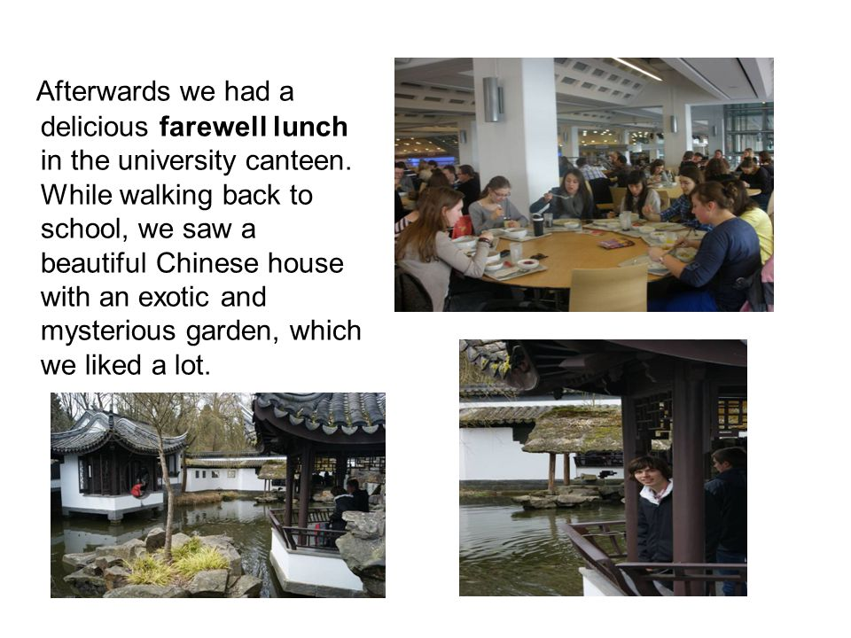 Afterwards we had a delicious farewell lunch in the university canteen.