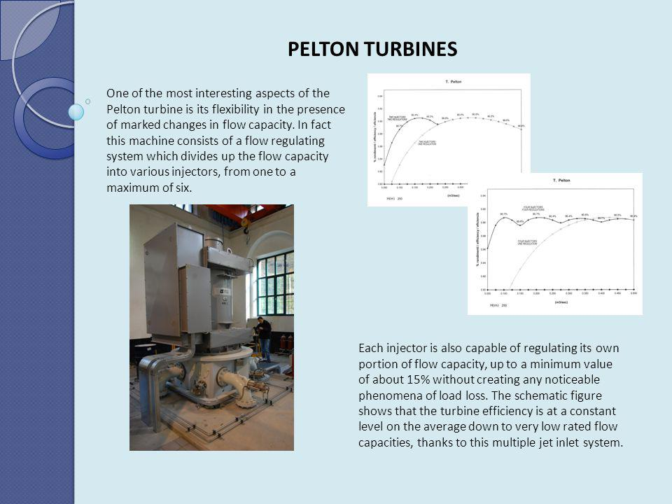 PELTON TURBINES Each injector is also capable of regulating its own portion of flow capacity, up to a minimum value of about 15% without creating any noticeable phenomena of load loss.