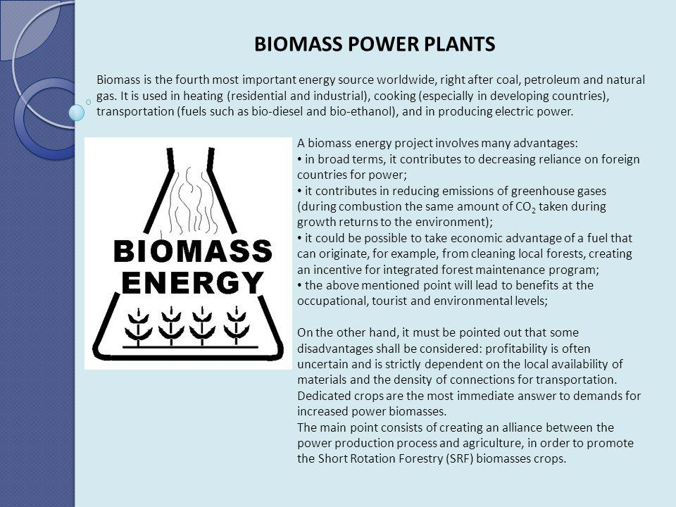 BIOMASS POWER PLANTS Biomass is the fourth most important energy source worldwide, right after coal, petroleum and natural gas. It is used in heating