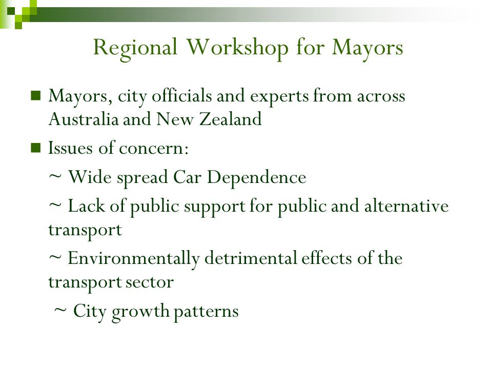 Regional Workshop for Mayors Mayors, city officials and experts from across Australia and New Zealand Issues of concern: ~ Wide spread Car Dependence ~ Lack of public support for public and alternative transport ~ Environmentally detrimental effects of the transport sector ~ City growth patterns