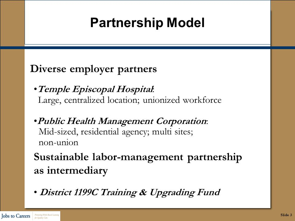 Slide 3 Partnership Model Diverse employer partners Temple Episcopal Hospital: Large, centralized location; unionized workforce Public Health Manageme