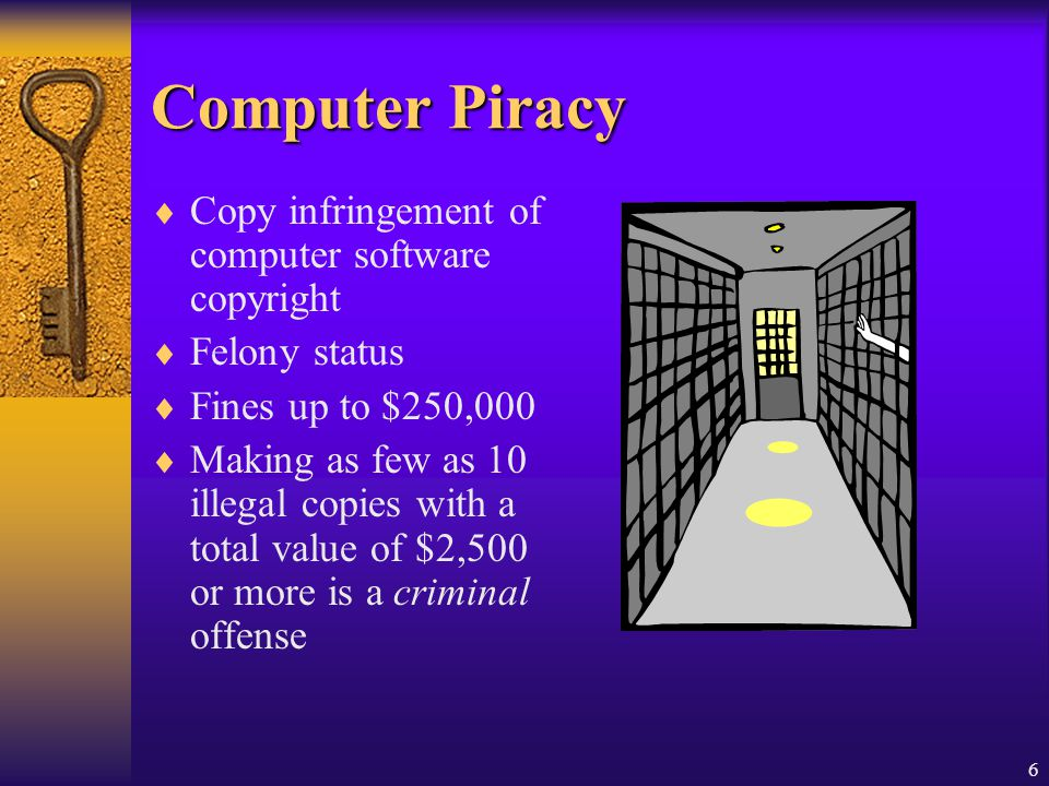 6 Computer Piracy Copy infringement of computer software copyright Felony status Fines up to $250,000 Making as few as 10 illegal copies with a total