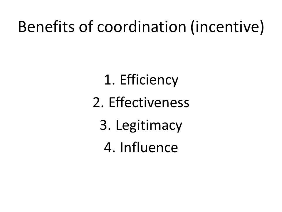 Benefits of coordination (incentive) 1.Efficiency 2.Effectiveness 3.Legitimacy 4.Influence
