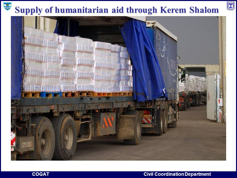COGATCivil Coordination Department Supply of humanitarian aid through Kerem Shalom