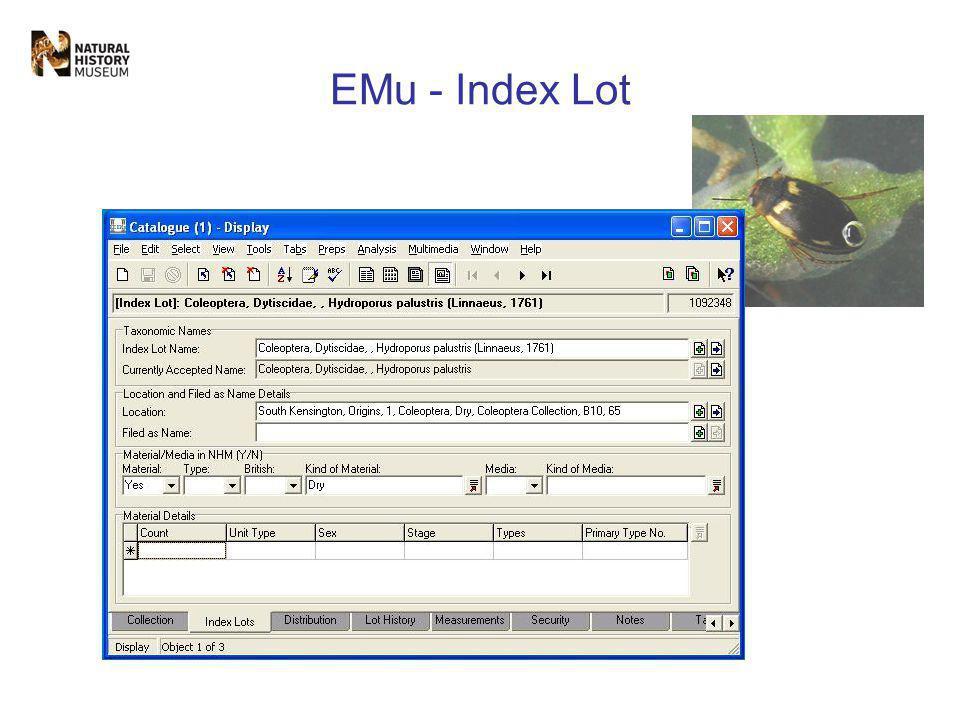 EMu - Index Lot