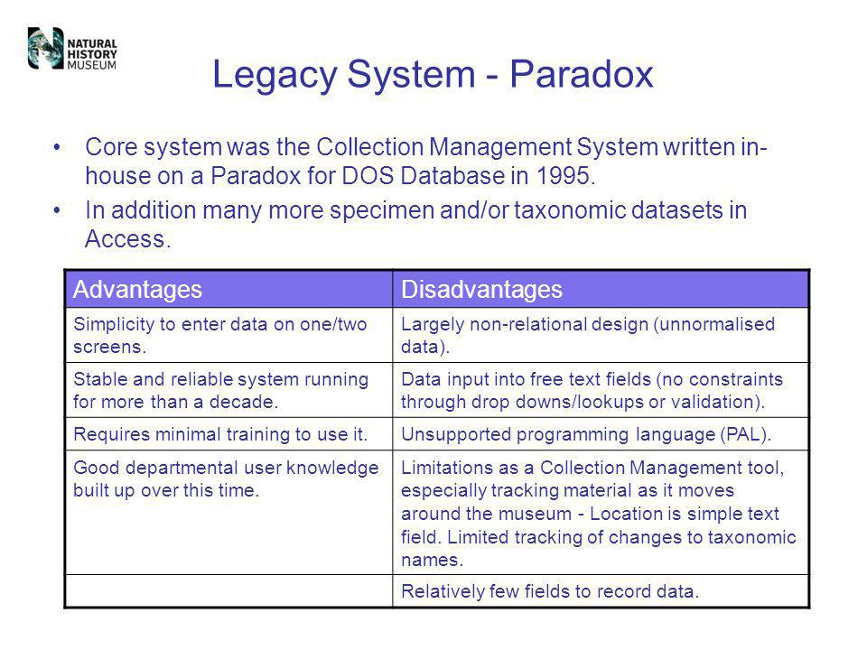 Legacy System - Paradox Core system was the Collection Management System written in- house on a Paradox for DOS Database in 1995. In addition many mor
