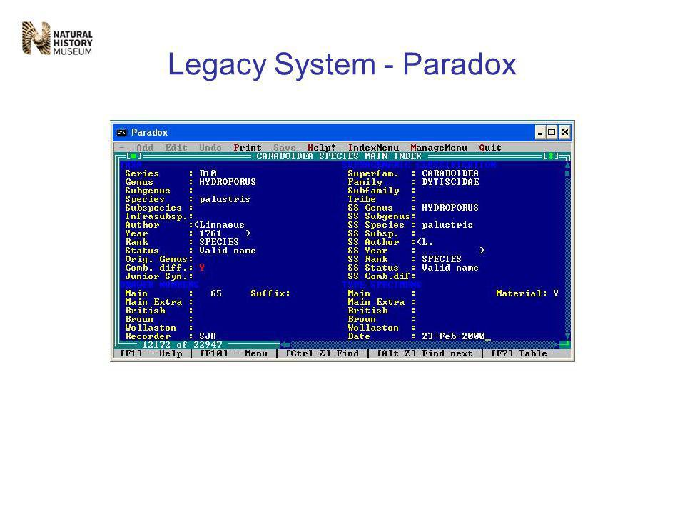 Legacy System - Datasets Four main kinds of datasets; 1) Accession Register (3,300 records) 2) Specimen level (231,000 records) 3) Collection Index (798,000 records) 4) Taxonomic (55,600 records) All these have different data models.