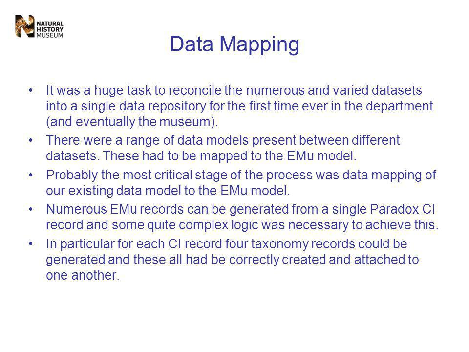 Data Mapping It was a huge task to reconcile the numerous and varied datasets into a single data repository for the first time ever in the department (and eventually the museum).