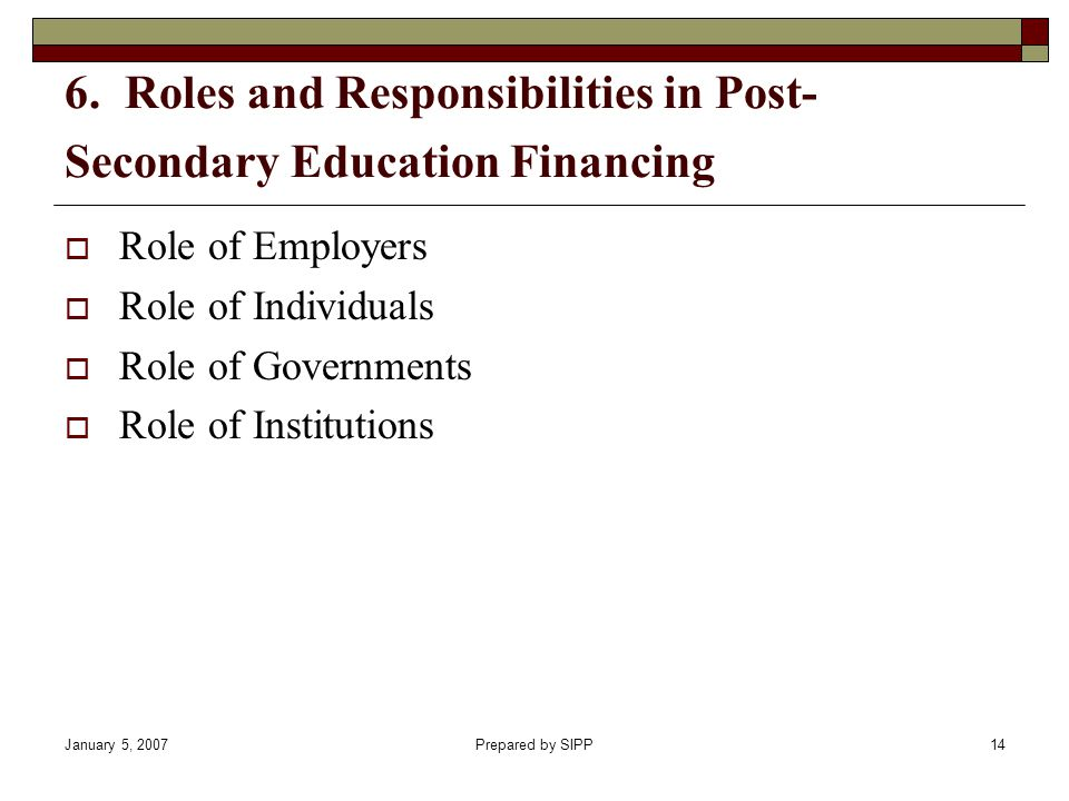January 5, 2007Prepared by SIPP14 6. Roles and Responsibilities in Post- Secondary Education Financing Role of Employers Role of Individuals Role of G