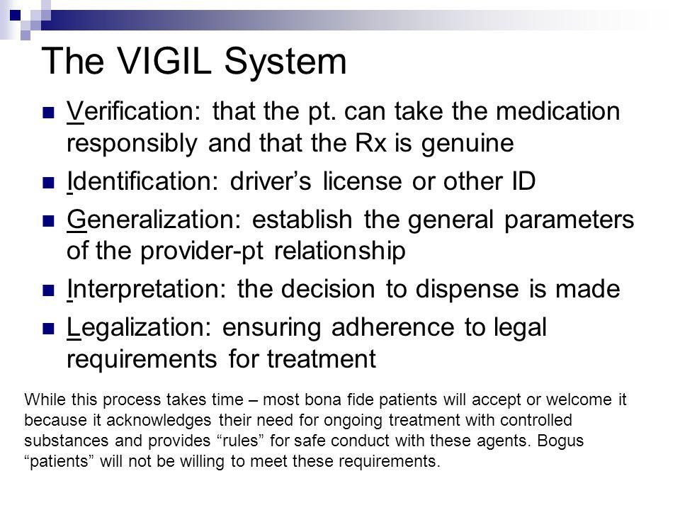The VIGIL System Verification: that the pt. can take the medication responsibly and that the Rx is genuine Identification: drivers license or other ID
