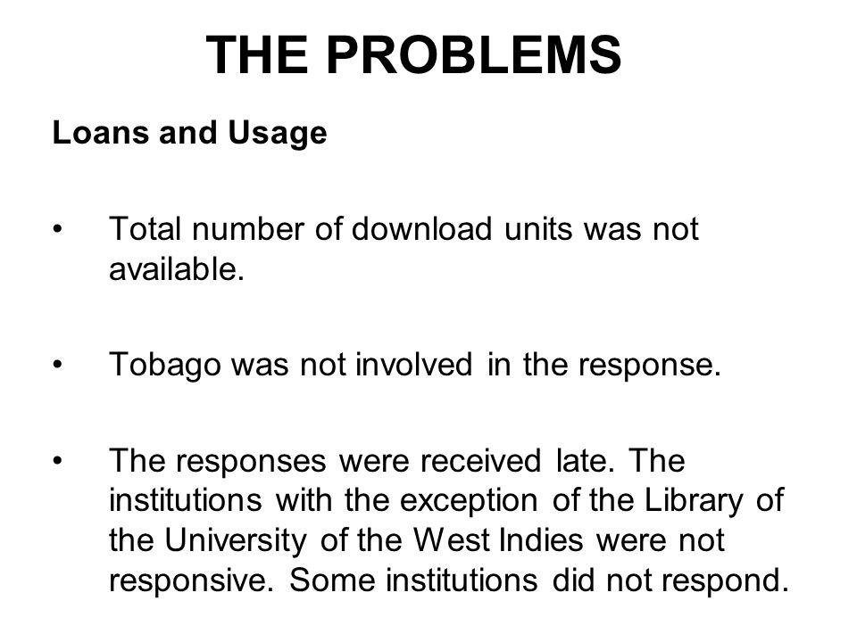 THE PROBLEMS Loans and Usage Total number of download units was not available.