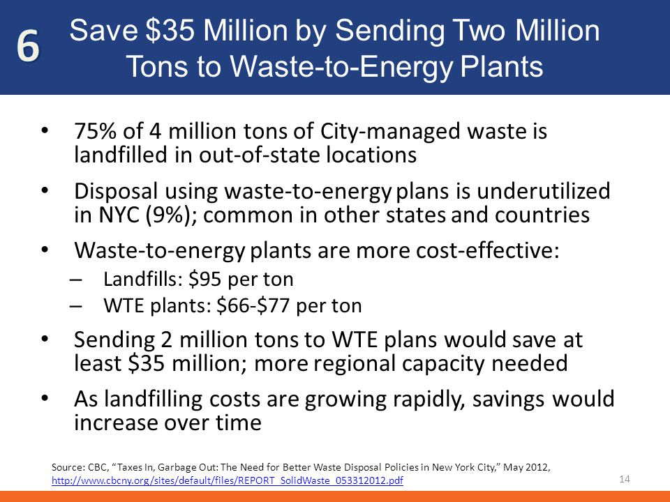 Save $35 Million by Sending Two Million Tons to Waste-to-Energy Plants 75% of 4 million tons of City-managed waste is landfilled in out-of-state locat