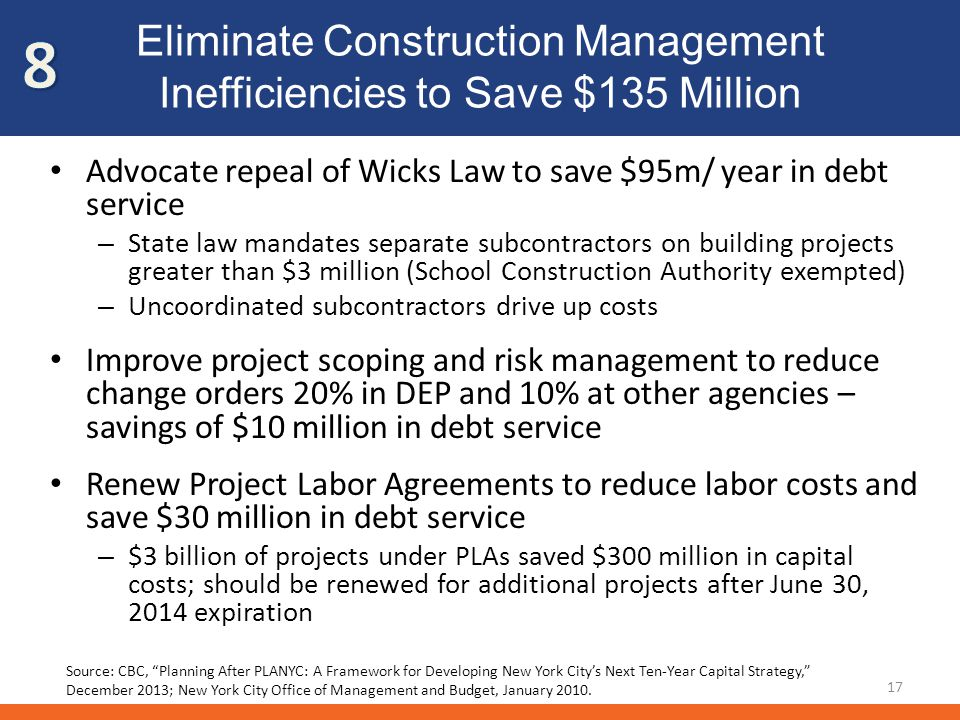 Eliminate Construction Management Inefficiencies to Save $135 Million Advocate repeal of Wicks Law to save $95m/ year in debt service – State law mandates separate subcontractors on building projects greater than $3 million (School Construction Authority exempted) – Uncoordinated subcontractors drive up costs Improve project scoping and risk management to reduce change orders 20% in DEP and 10% at other agencies – savings of $10 million in debt service Renew Project Labor Agreements to reduce labor costs and save $30 million in debt service – $3 billion of projects under PLAs saved $300 million in capital costs; should be renewed for additional projects after June 30, 2014 expiration 17 Source: CBC, Planning After PLANYC: A Framework for Developing New York Citys Next Ten-Year Capital Strategy, December 2013; New York City Office of Management and Budget, January 2010.