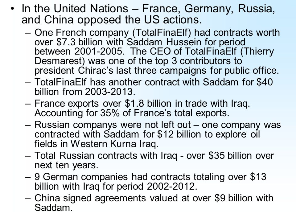 In the United Nations – France, Germany, Russia, and China opposed the US actions.