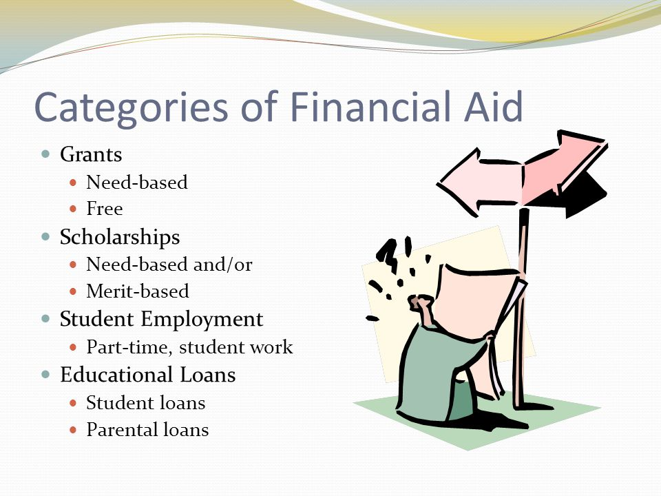 Categories of Financial Aid Grants Need-based Free Scholarships Need-based and/or Merit-based Student Employment Part-time, student work Educational Loans Student loans Parental loans