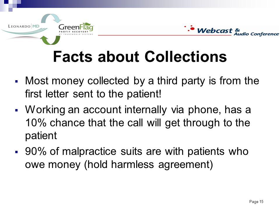Page 15 Facts about Collections Most money collected by a third party is from the first letter sent to the patient.